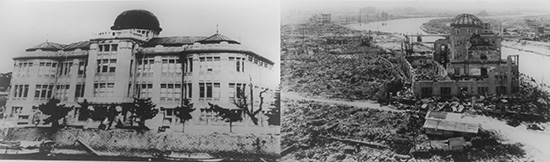 Hiroshima A-bomb dome before and after
