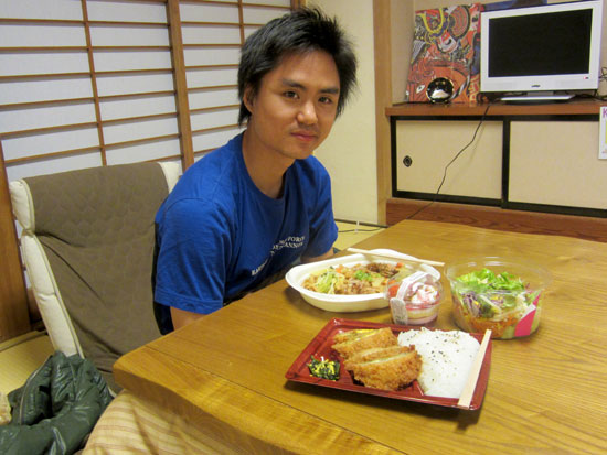 Dinner on a kotatsu in K's House