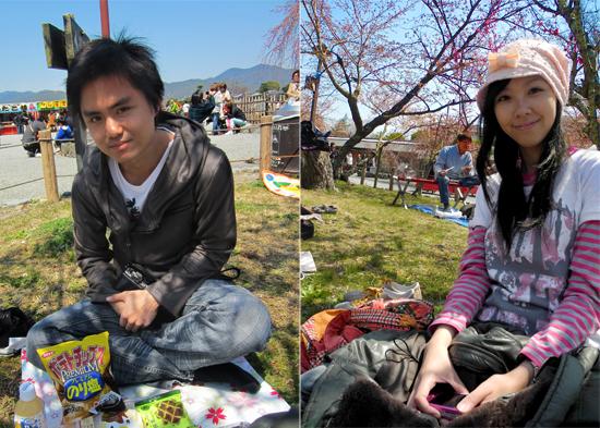 Traditional hanami picnic at Arashiyama