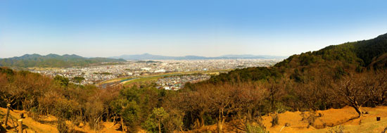 Looking back at Kyoto from the top of Monkey Park