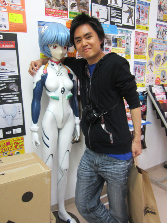 Posing with Rei Ayanami