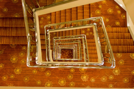 Looking down from the top deck to the bottom