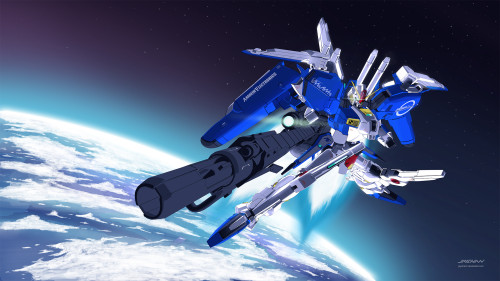 Ex-S gundam space version 3D illustration